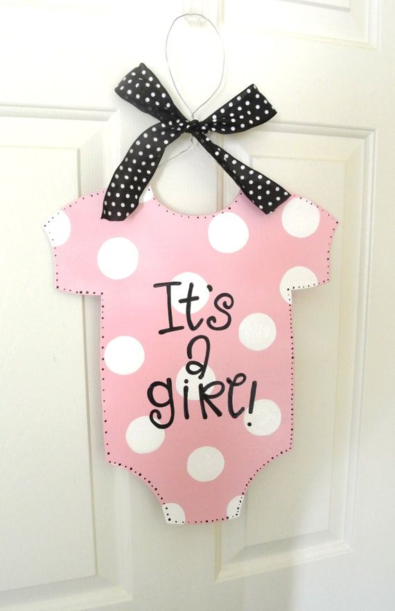 It 39 s a girl baby onesie sign hospital by for Baby shower decoration ideas for a girl