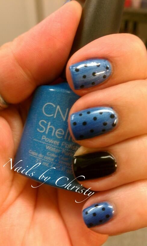 Perfect Blue and Black Shellac Nails
