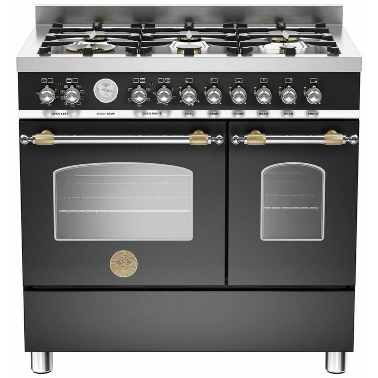 This Bertazzoni Heritage Dual Fuel Range Cooker is only 90cm wide, but still has 5 hob burners and 2 good sized ovens. Looks great too!