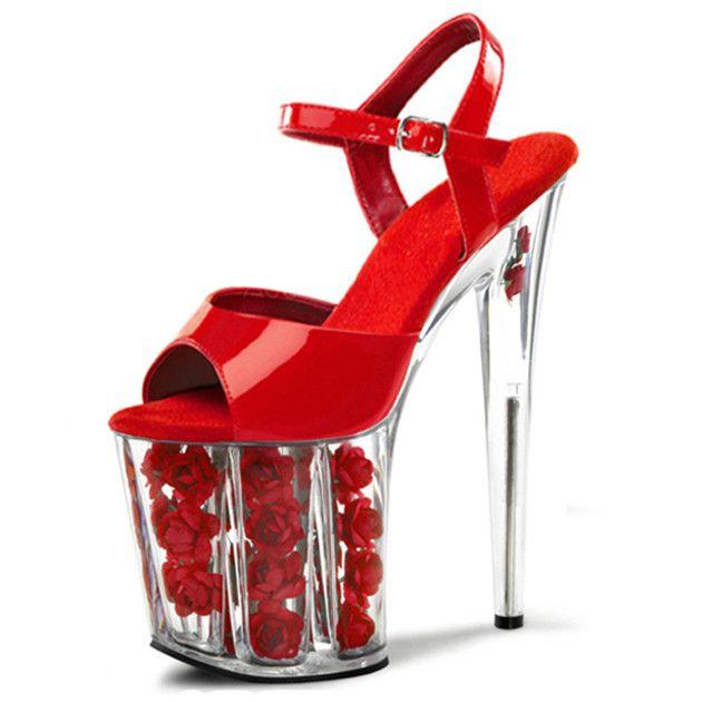 Sapato Feminino Новинка Модные женские Сандалии 20 см Женские пикантные туфли на высоком каблуке Пряжка на щиколотке Для женщин Насосы свадебные туфли купить на AliExpress
