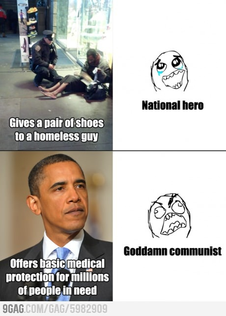 Lets talk about flawed logic. Giving someone shoes is a simple act of kindness. Obamacare is 1. UNCONSTITUTIONAL hello!?! Do we care about the constitution at all in this country? 2. It's incredibly expensive 3. Is causing employers to cut employees hours bc they can get out of having to give it to them if they work less than 30 hours.  In conclusion whoever made this meme is an idiot.