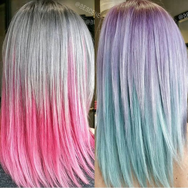 dove gray neon pink hair color