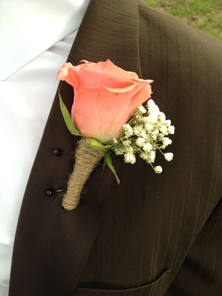 Coral Rose Boutonniere with Baby's Breath