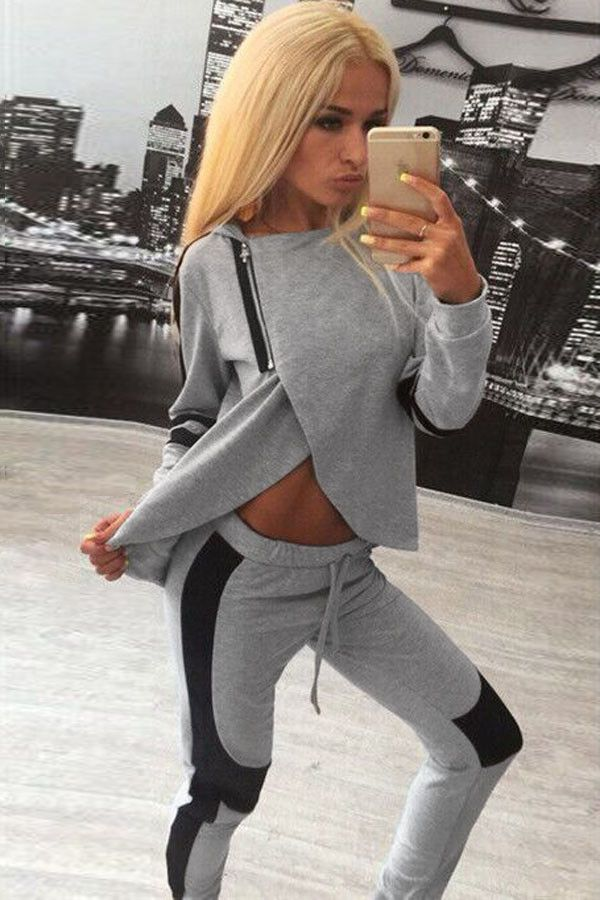 Chic Two-piece Hooded Sweat Suit with Zipper