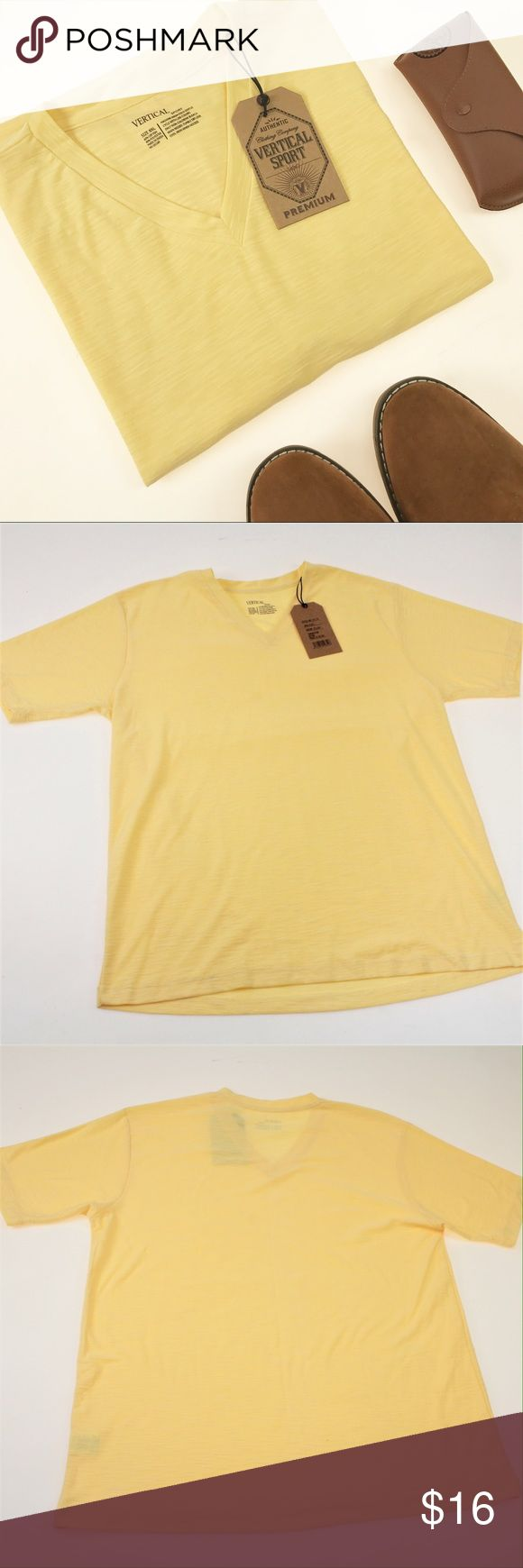 Yellow Basic V-Neck Tee or Under Shirt This classic fit tee comes in a bright yet classy canary yellow color. The collar is a v-neck, but not too deep! This shirt is a very comfortable 60% Cotton, 40% Polyester blend. Pair it with casual shorts for warm weather wear or use as an undershirt to add some color to your layering. #8TSIC Shirts Tees - Short Sleeve