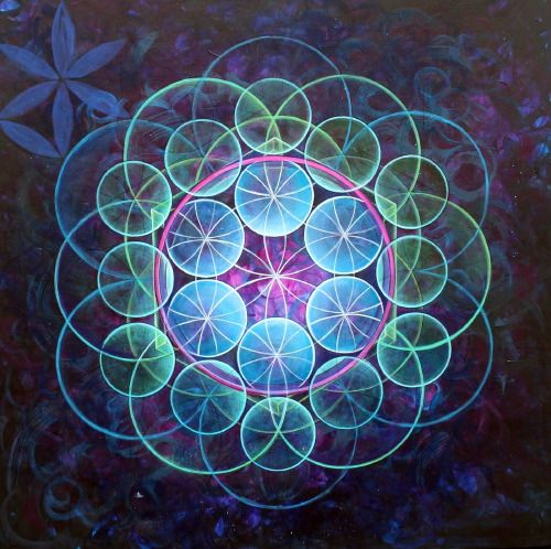 life flower universe geometric Spiritual flower of life sacred geometry visionary art Seed Seed of Life activation portal krystaleyez