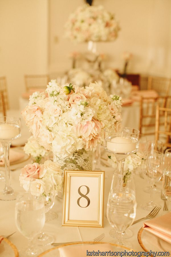 blush pink, ivory, gold, lace wedding, romantic wedding, gold table number, gold frames // Events by Satra // Nicole Ha Floral Design // Kate Harrison Photography
