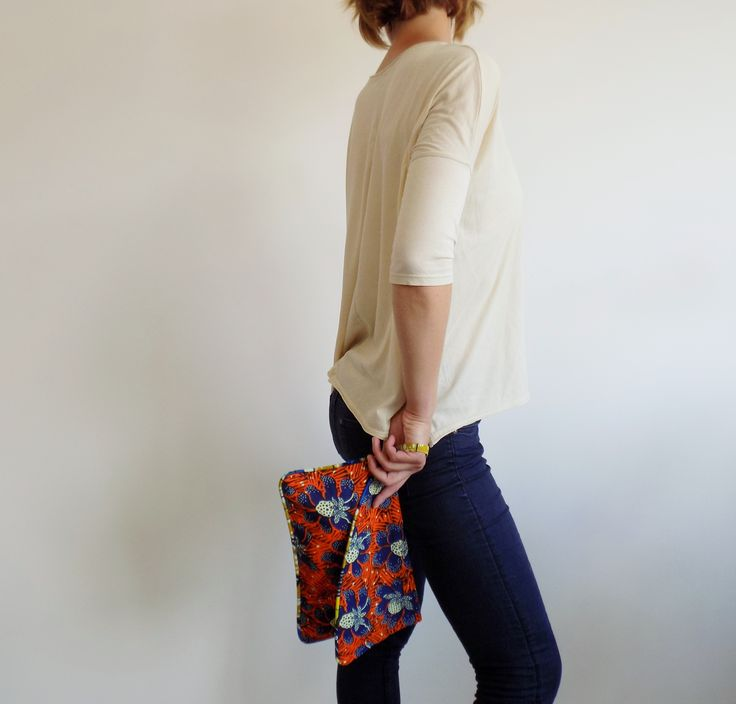 Boho style clutch handmade in Italy, with real wax cotton fabric