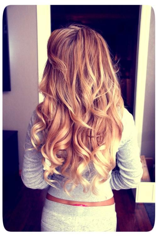 Lovely golden brown blonde mix with platinum blonde curly tips.
