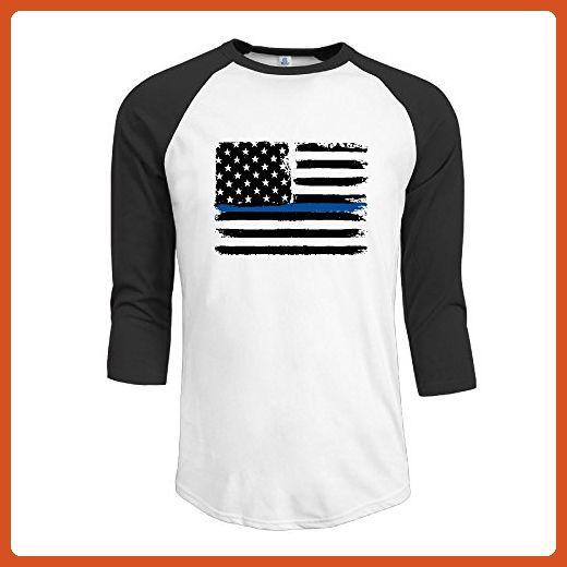 American Flag With Thin Blue Line Men 3/4 Sleeves Raglan T Shirts Slim Fit Sports Uniforms XXL - Sports shirts (*Partner-Link)