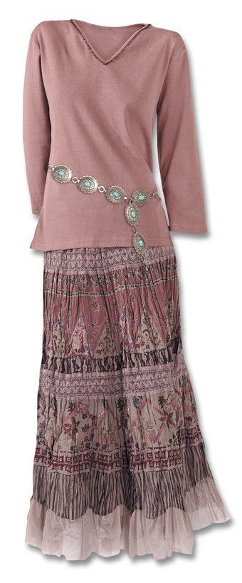 Dusty Rose Crinkle Skirt Dresses & Skirts - Fashion Southwest Indian Foundation