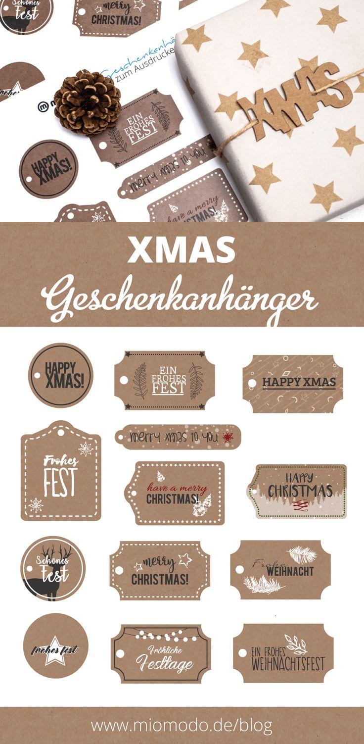 Geschenkanhänger basteln für Weihnachten ★ Freebies und DIY Ideen ★ XMAS Anhänger zum PDF Download ★ Bastelvorlage zum Ausdrucken ★