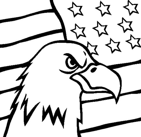 Flag Day And Head Of An Eagle Coloring Pages