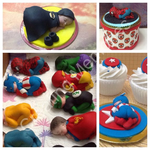 Superhero Baby Cake Topper Made of Vanilla Fondant di anafeke