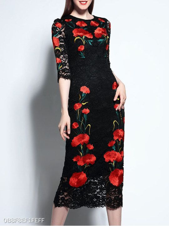 c48550153e6 Round Neck Floral Lace Bodycon Dress  berrylook  winter  fall  fashion   trends  styles  winter  clothes  fashionista