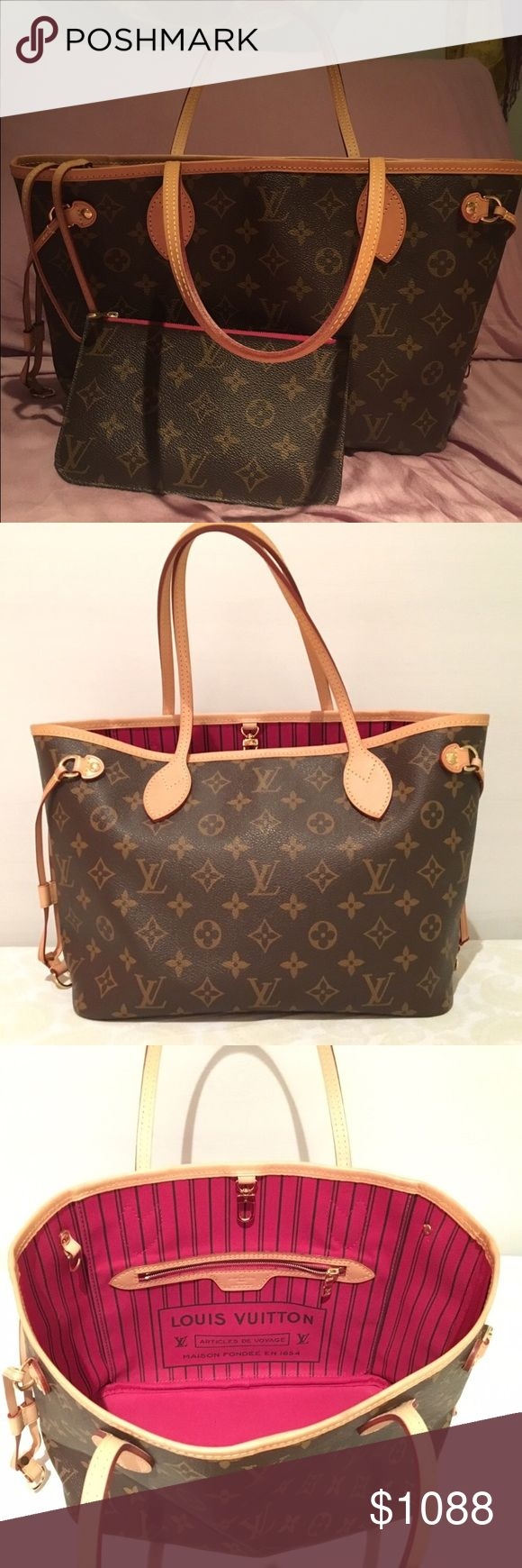 Classic Neverfull PM Pivione Interior and Pochette Excellent condition. Dust bad and original box. Pochette included. I purchased in Poshmark and only used once. Has been inspected by posh for authenticity Louis Vuitton Bags Totes