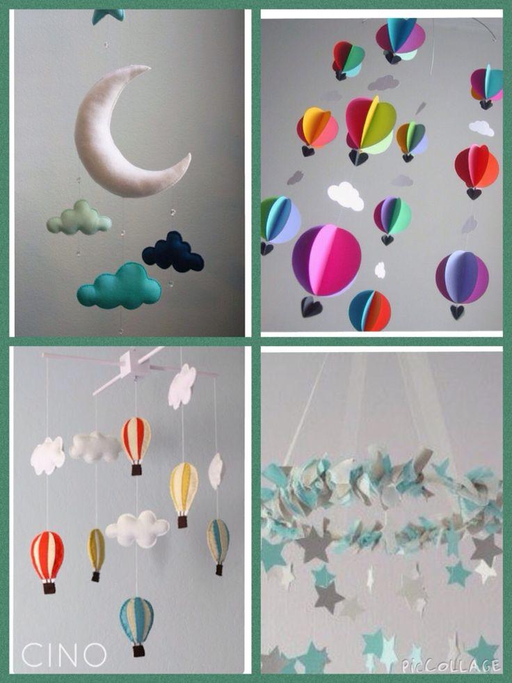 Baby mobiel van vilt om zelf te maken Met maan, luchtballon met hartjes mandje en organza lint