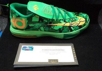 Kevin Durant Signed Green Nike KD VI Easter Shoe Panini Authentic COA PA29285  Panini Certified  Autographed NBA Sneakers * Click image for more details.