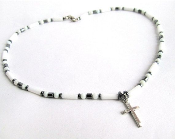 Mens cross necklace gemstone beaded necklace by Bravemenjewelry