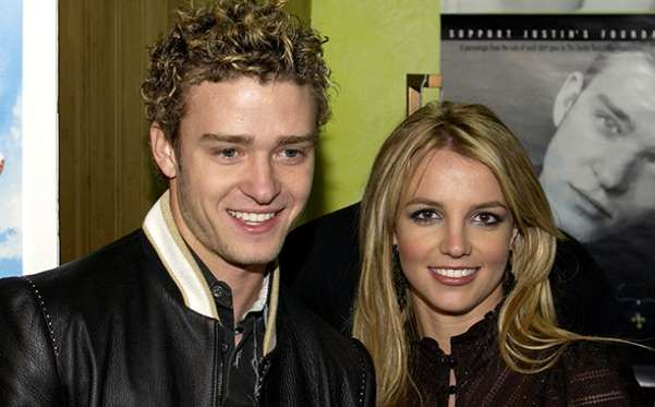 Britney Spears With Justin Timberlake on February 13, 2002 - Denise Truscello/WireImage