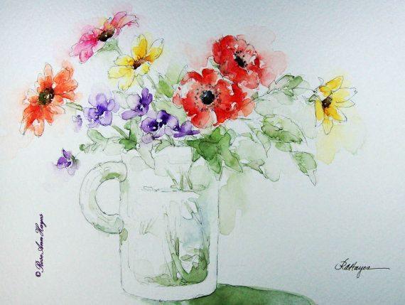 Colorful Flowers in Glass Mug Watercolor Painting by RoseAnn Hayes, print is available in Etsy shop, floral bouquet