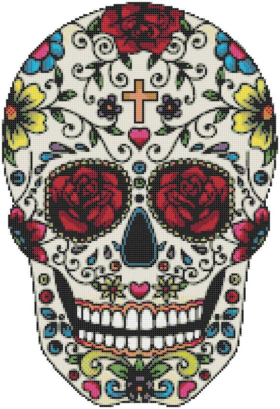 Sugar Skull - 164 x 125 stitches - Cross Stitch Pattern Pdf - INSTANT Download…