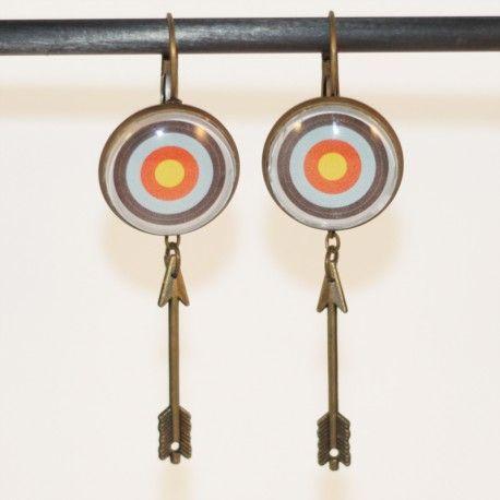 Boucles d'oreilles tir à l'arc en cible