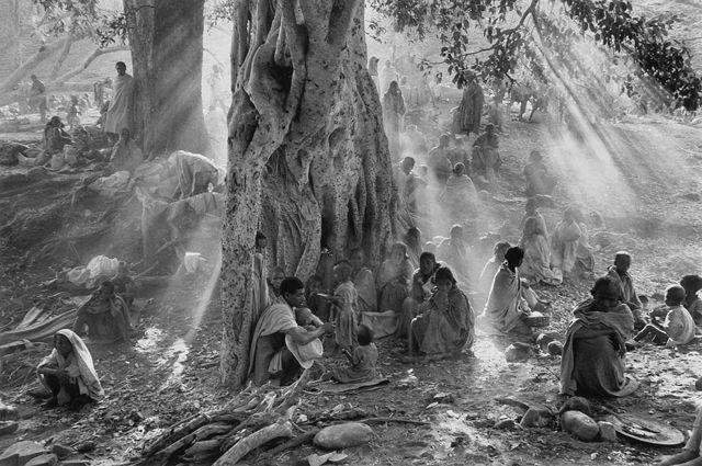 戦闘機の機銃掃射から逃れるために、夜通し歩き、キャンプに到着した何千人もの難民たち, エチオピア 1985 > セバスチャン・サルガド (Sebastião Salgado)