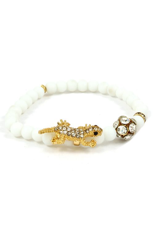 "The ""I'll eat your crystal"" bracelet - cute lil gecko!"