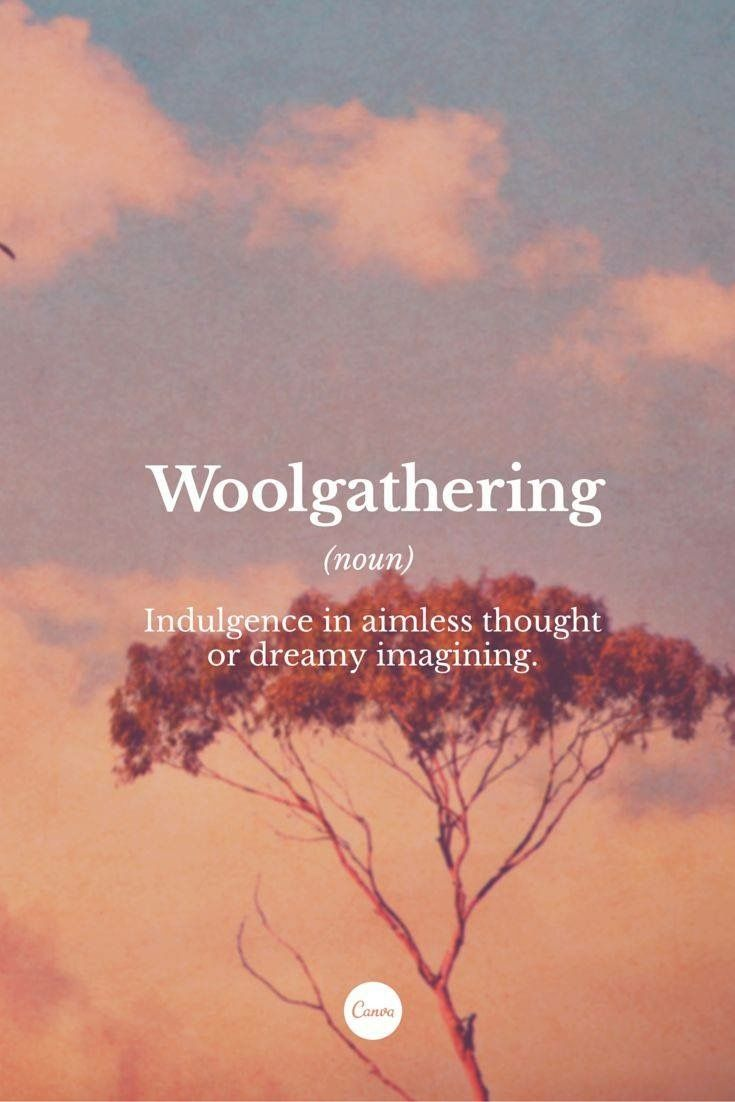 Woolgathering (n) ..indulgence in aimless thought or dreamy imagining
