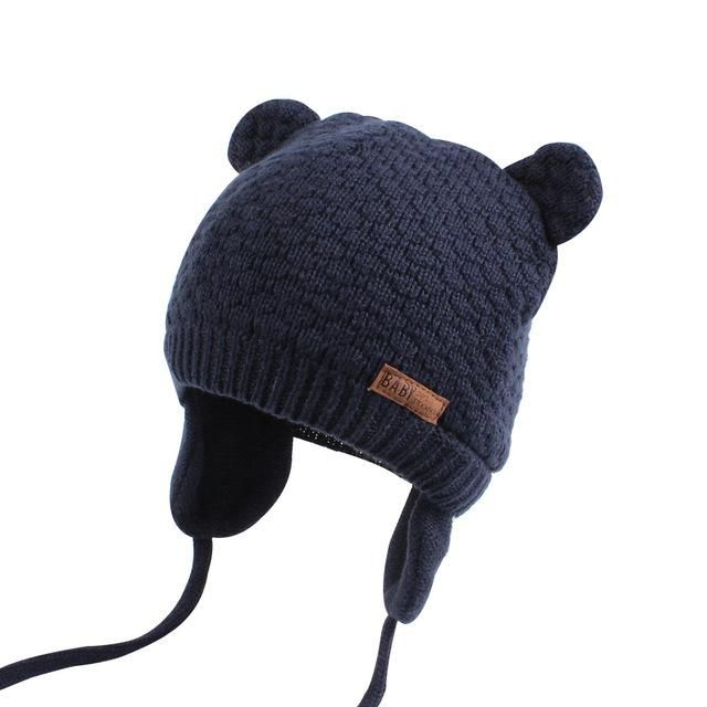Bear Ears Cute Baby Hat Soft Cotton Newborn Baby Beanie Double Layer Warm Winter Hat For Baby Girls Boys Knitted Baby Winter Hats Baby Winter Warm Winter Hats
