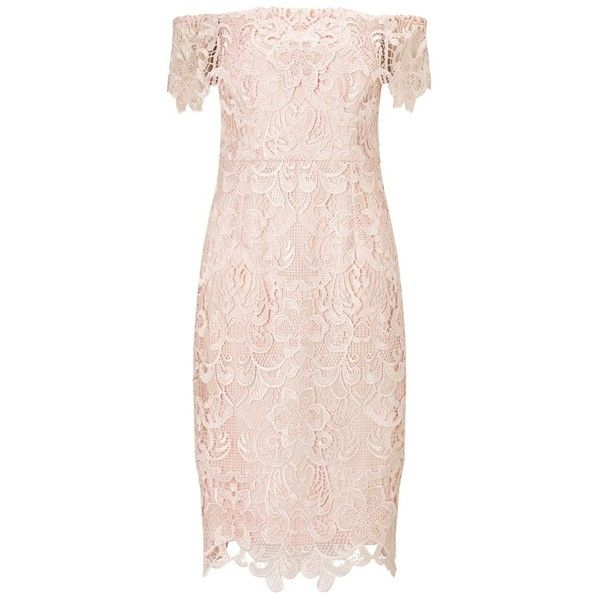 Lipsy Vip All Over Lace Bardot Dress ❤ liked on Polyvore featuring dresses, pink lace dress, lipsy dresses, pink dress, lipsy and lace dress