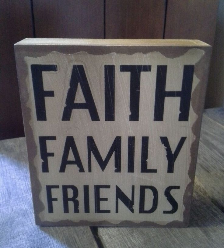 Box Block Sitter Or Wall Hang Faith Family Friends