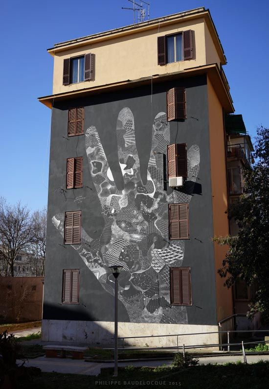 """Roma. Tor Marancia. Street art. """"Elisabetta's hand"""" by Philippe Baudelocque. For Big City Life Project"""