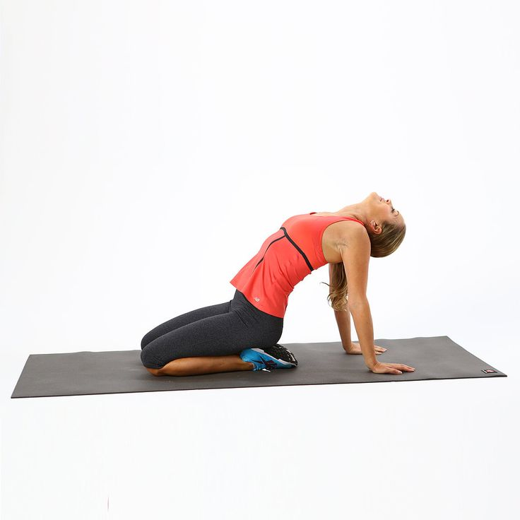 Stretch through the front of your neck, chest, and shoulders with this relaxing heart opener.  Begin sitting on the heels as if coming into Reclining Hero pose. Lean back and place your palms flat on the floor about eight to 10 inches behind you so