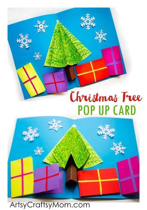 Make your own 3D Christmas Tree Pop Up Card for family members and friends. Miniature presents hold your season's greetings at the bottom.  via /artsycraftsymom/