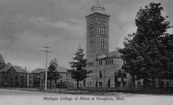 Michigan College of Mines, Houghton, MI; founded in 1885 as Michigan Mining School; name change to Michigan College of Mines in 1897, to Michigan College of Mining & Technology in 1927, and to Michigan Technological University in 1964; source: mtuarchives