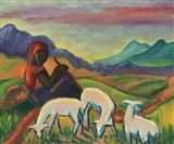 Maggie Laubser - LANDSCAPE WITH A FIGURE AND SHEEP... on MutualArt.com