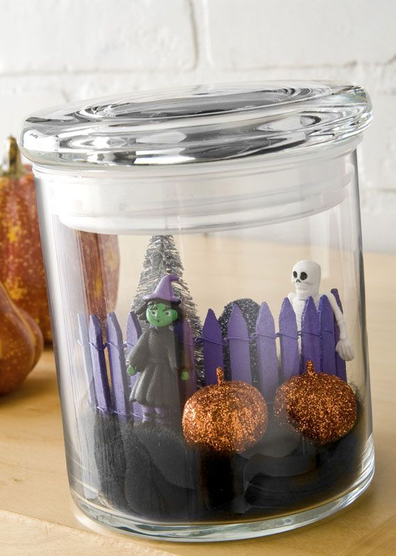 Terrariums are so fun! I love this project! Putting candles behind them too would make a eery, cute, scene!