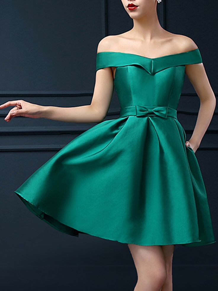 Green Off Shoulder Bowknot Waist Lacing Back Prom Skater Dress