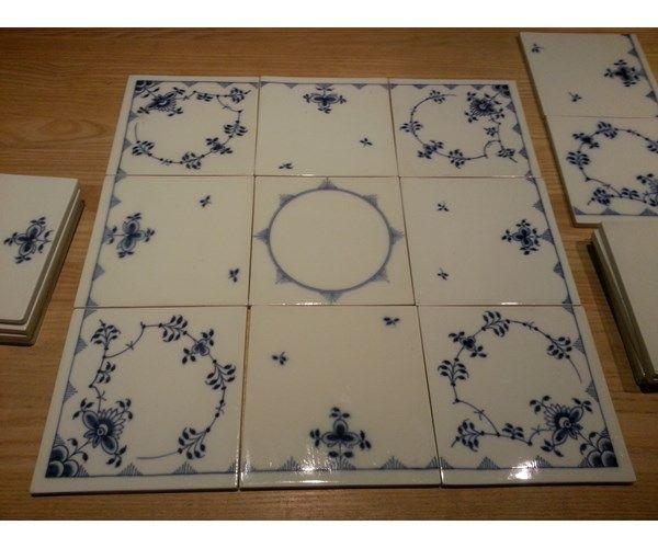 Porcelæn, Fliser, Musselmalet, Musselmalede fliser. I