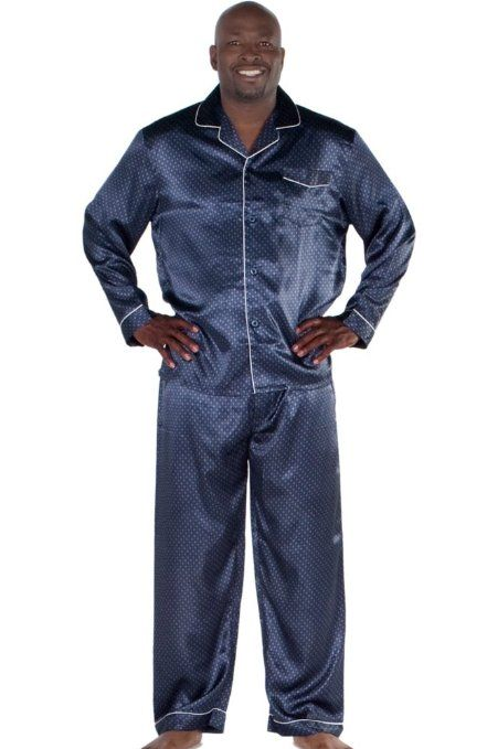 Mens Blue Satin Pajamas