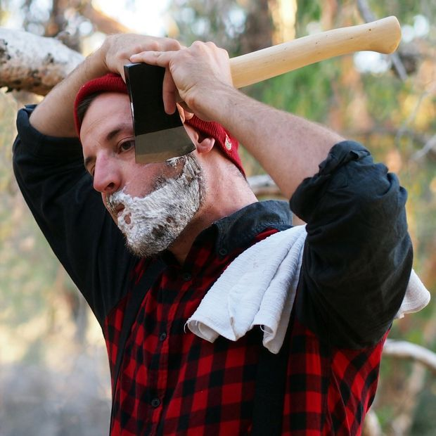 Few things are manlier than shaving with a straight razor, except maybe shaving with an axe. #beards