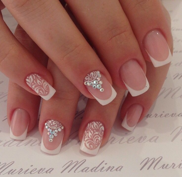 White baroque pattern damask with white Swarovski crystal nail art