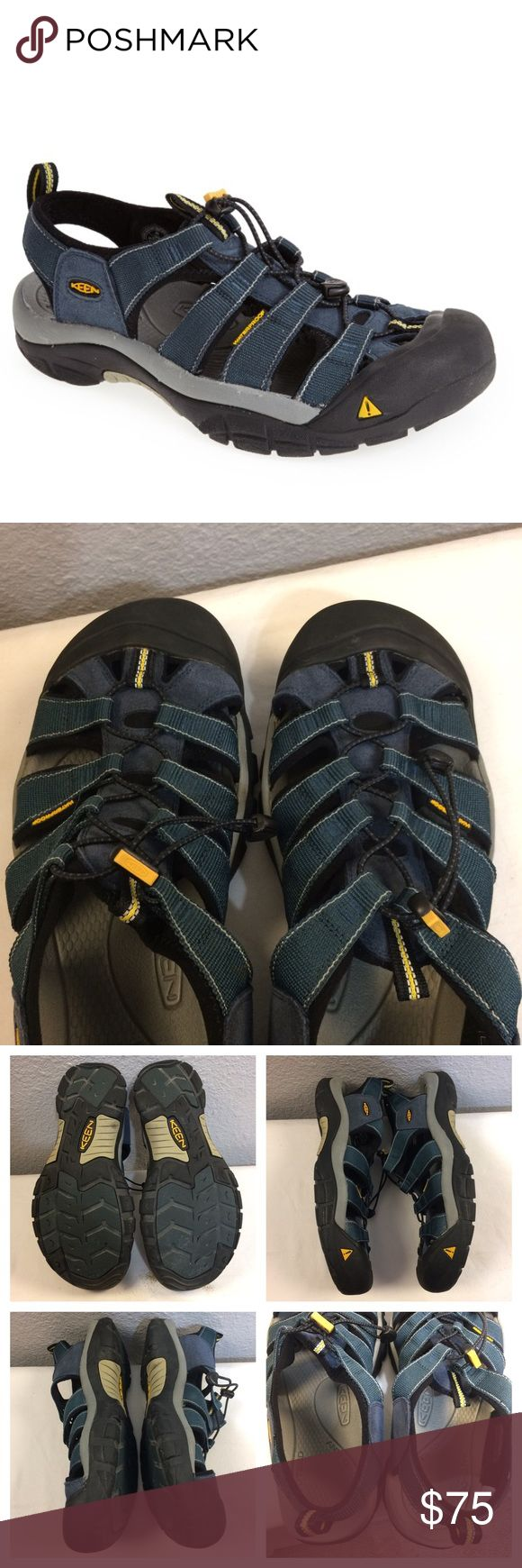 Men's Keen Newport H2 navy/grey water shoe Almost new Keen men's Newport H2. Like a sandal with toe protection. Used once. No marks or stains at all-not even in the insole!!!Great condition, washable with a rubber sole. Per Keen's site these run small. They are sized as 14 but fit 13.5. New style still available in stores for $99+. Please google Keen Newport H2 for more info. Keen Shoes