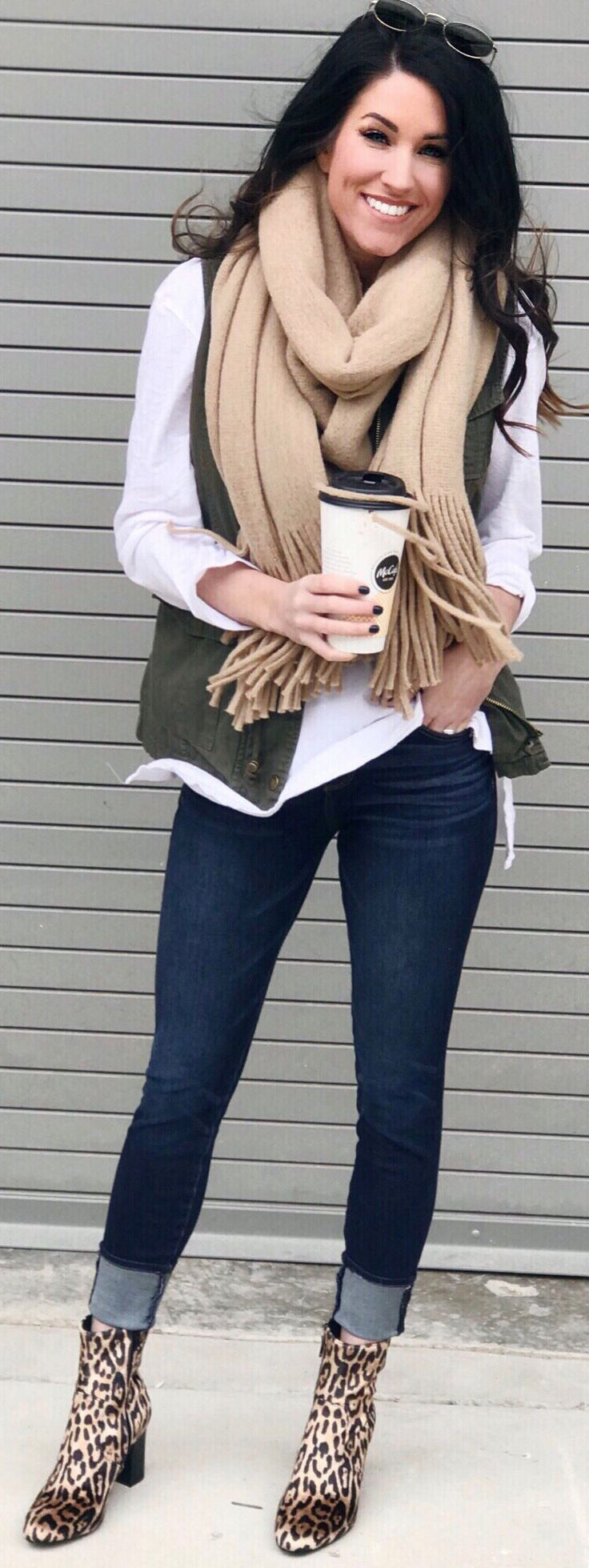 #winter #outfits brown scarf and white quarter-sleeved shirt. Pic by @thesisterstudioig.