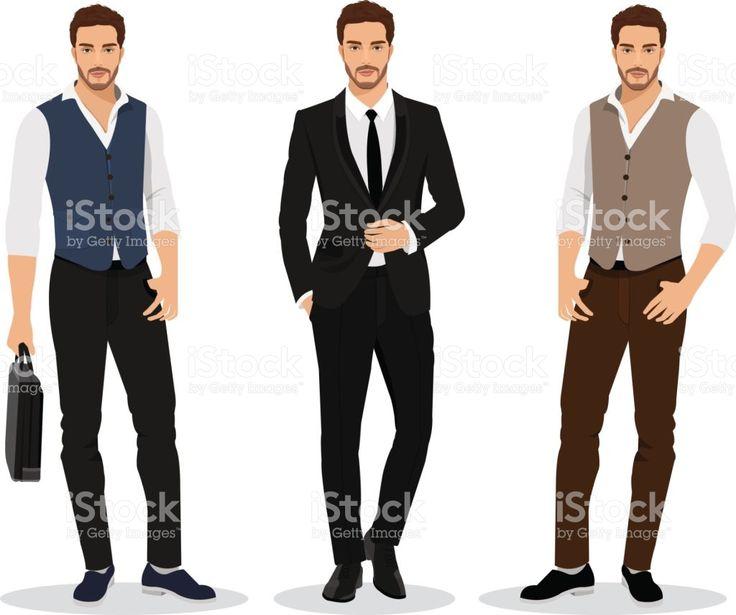 Conjunto de empresários de gráfico elegante alta detalhadas. Desenhos animados personagens masculinos. Homens com roupas de moda. Ilustração do vetor de estilo simples. vetor e ilustração royalty-free royalty-free