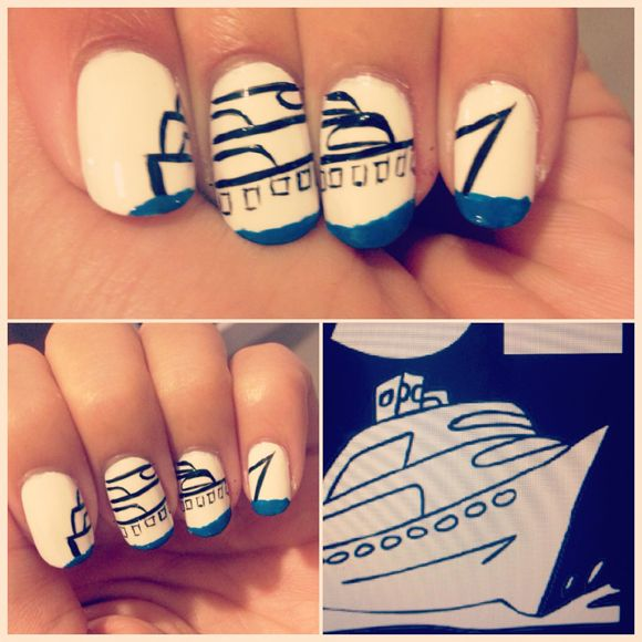 Going on a cruise? This nail art is perfect! All aboard! Toot toot! #NailArt #NailDesign #Cruise