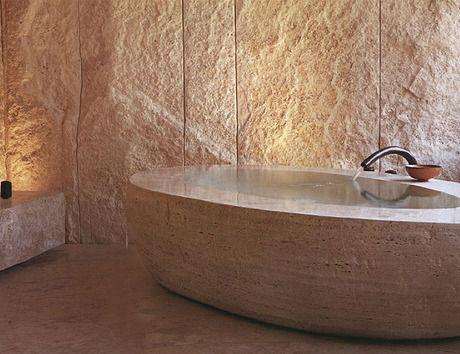 world UNICATE Natursteine の 地中海風 洗面所&風呂&トイレ Naturstein Badewanne