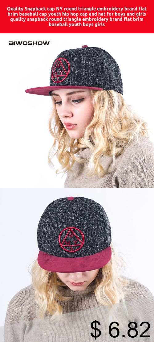 Only  6.82  Quality Snapback cap NY round triangle embroidery brand flat  brim baseball cap youth hip hop cap and hat for boys … 8a0142ad3a6d